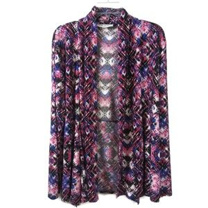 Large Pink Blue Open Fron Cardigan